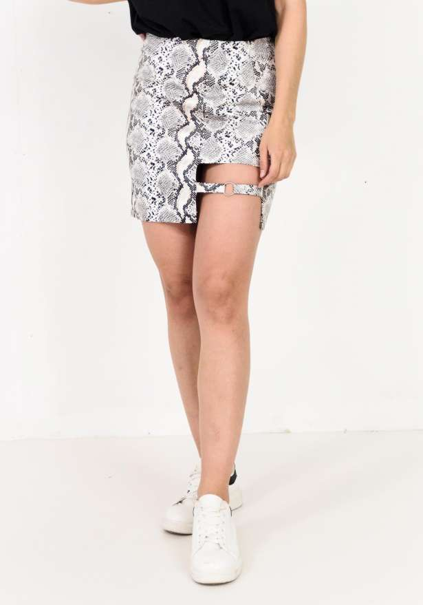Sassy Faux Leather Ring Detail Skirt In Snake