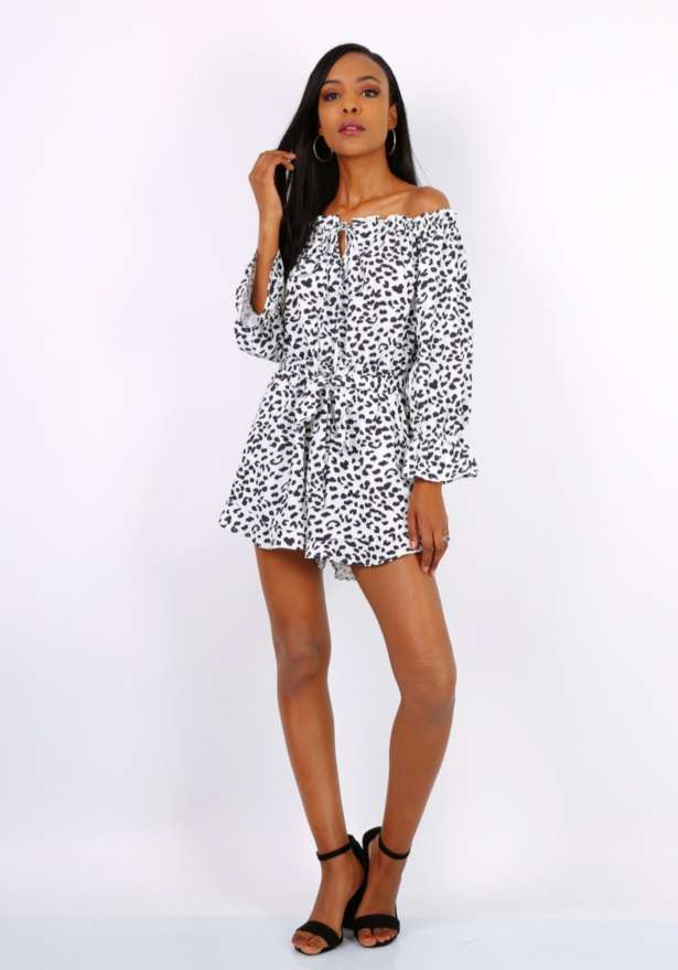 Off Shoulder Longsleeve Playsuit In White