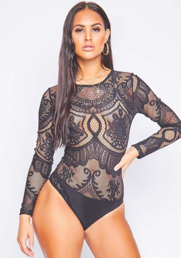 Isabella High Neck Lace Bodysuit In Black