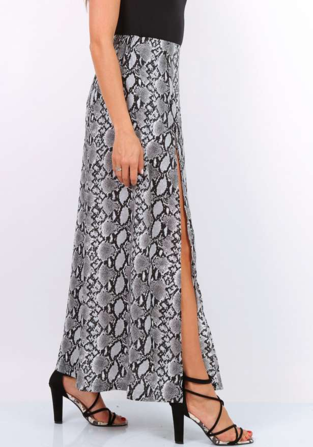 Jenna Snake Print Maxi Slit Skirt In Grey