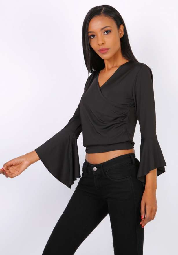 Eve Wrap Flare Sleeve Top in Black