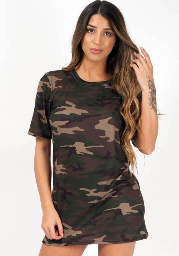 Camouflage Boyfriend Oversize T-shirt In Green