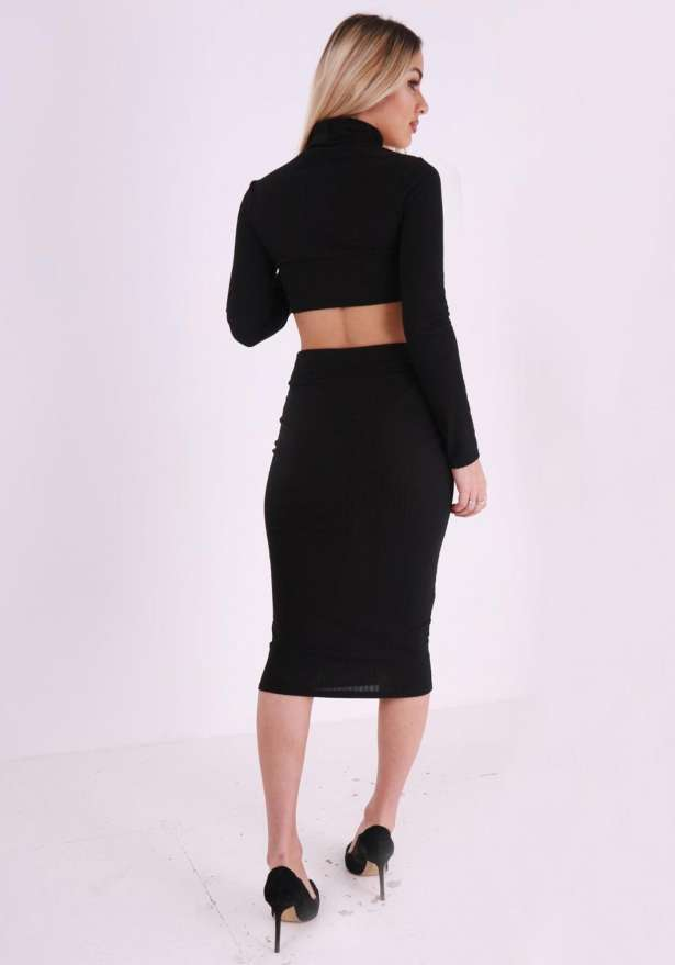 Ribbed Roll Neck Skirt Co-Ord In Black