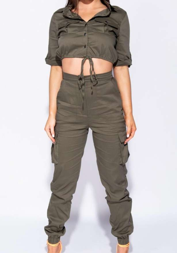 Utility Button Up Crop Top