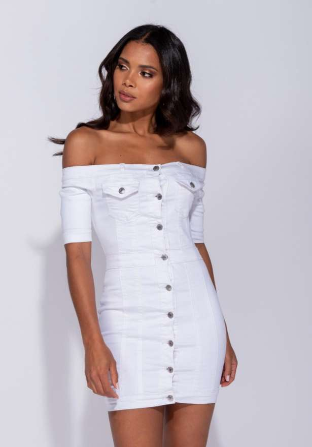 Denim Bardot Button Up Bodycon Dress In White