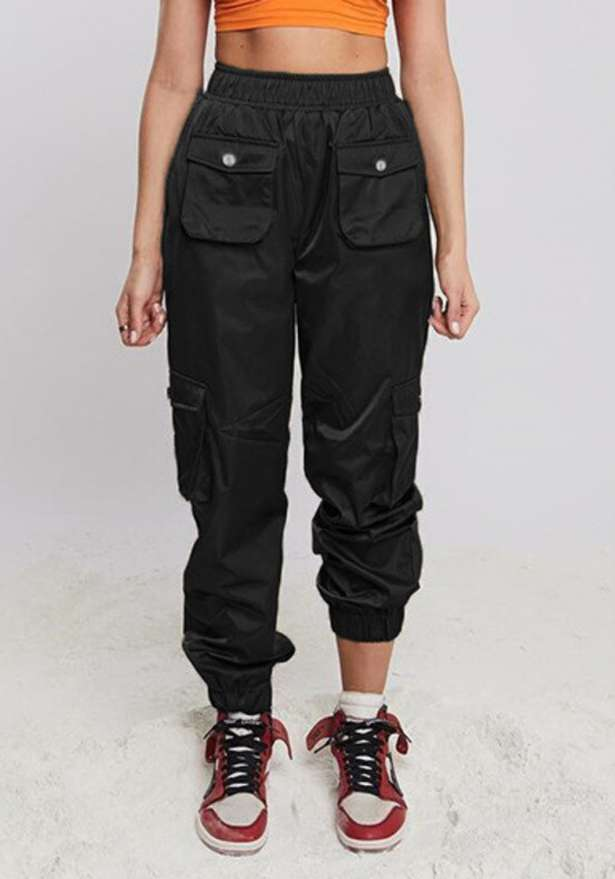 Front Pocket Satin Cargo Trousers In Black