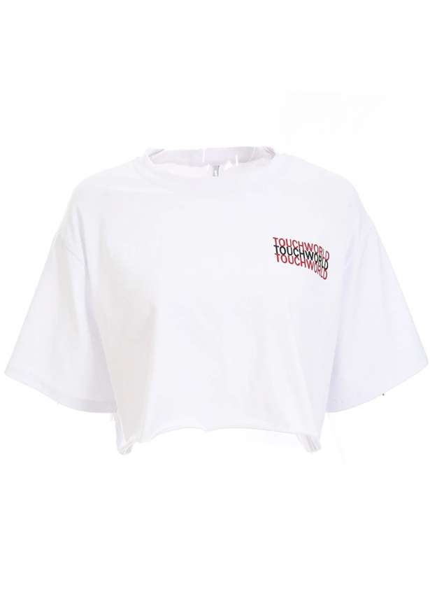 TouchWorld Raw Cut Cropped T-shirt In White