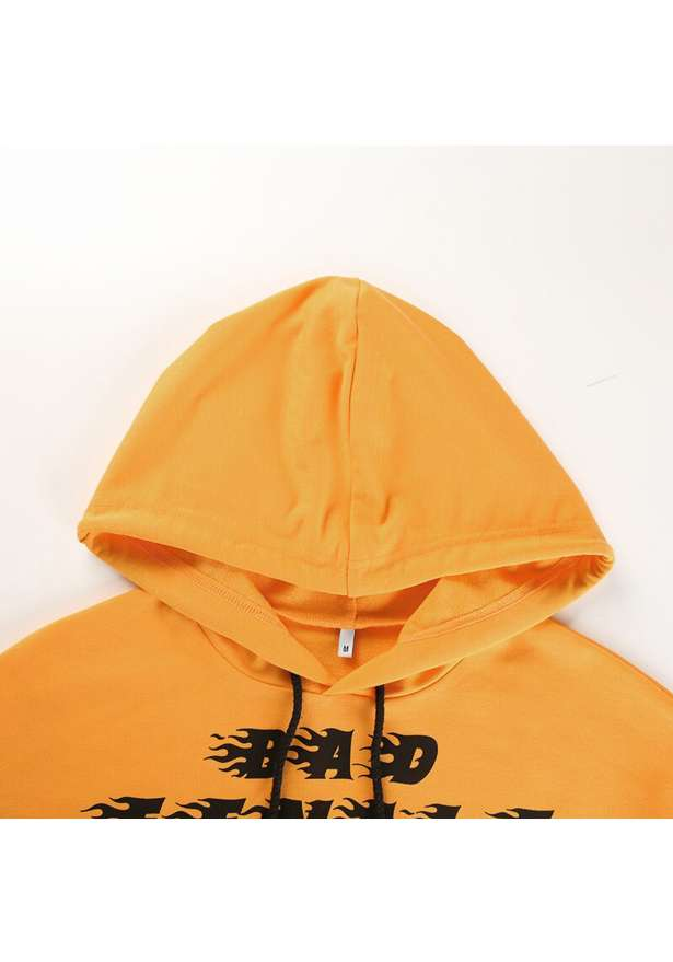 Bad Female Bra Cropped Raw Cut Hem Hoodie In Yellow