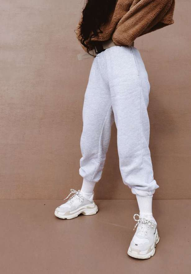 Oversize Fleece Jogger Sweatpants In Grey
