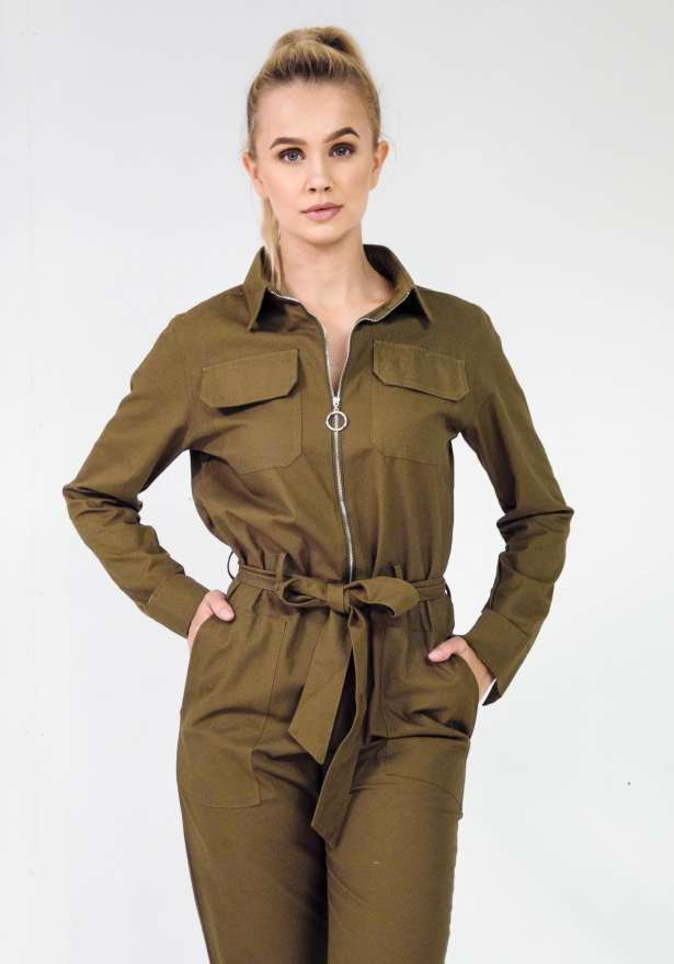 Grunge Dungaree Long Sleeve Jumpsuit In Green