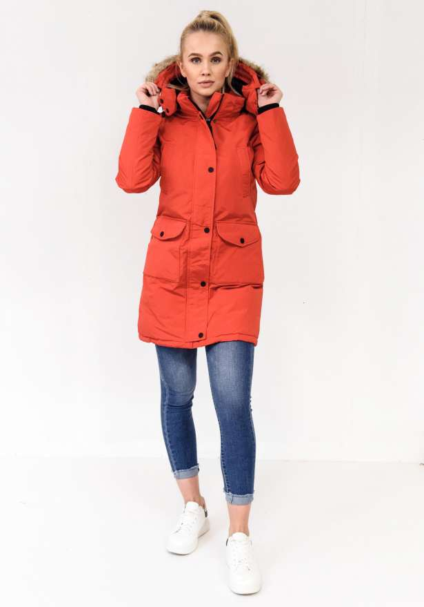 Northmount Detachable Faux Fur Long Parka In Red