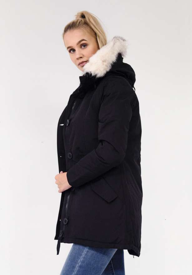 Arctic Parka With Detachable Faux Fur In Black