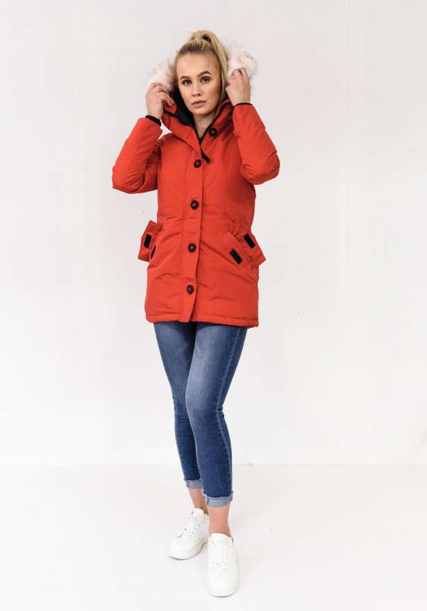 Arctic Parka With Detachable Faux Fur In Red