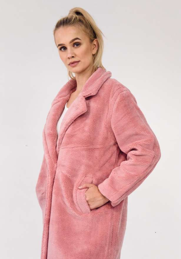 Teddy Oversize Long Coat In Pink