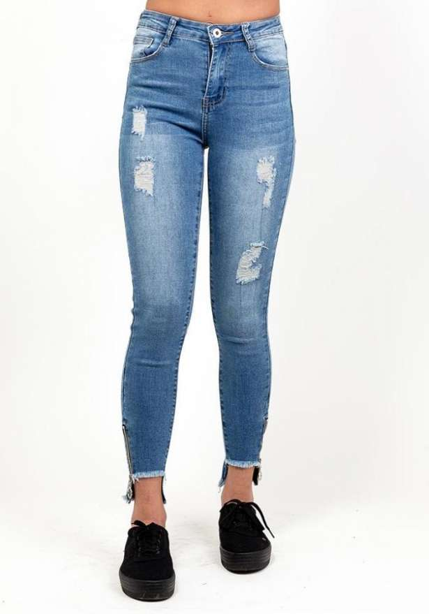 Blue High Waist Zip Detail Jeans
