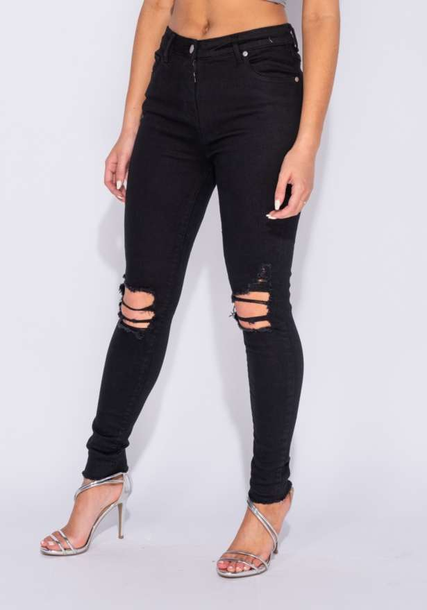 Distressed High Waist Jeans In Black