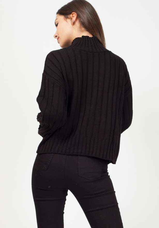 Olivia Kady Turtle Neck Knitted Jumper Black