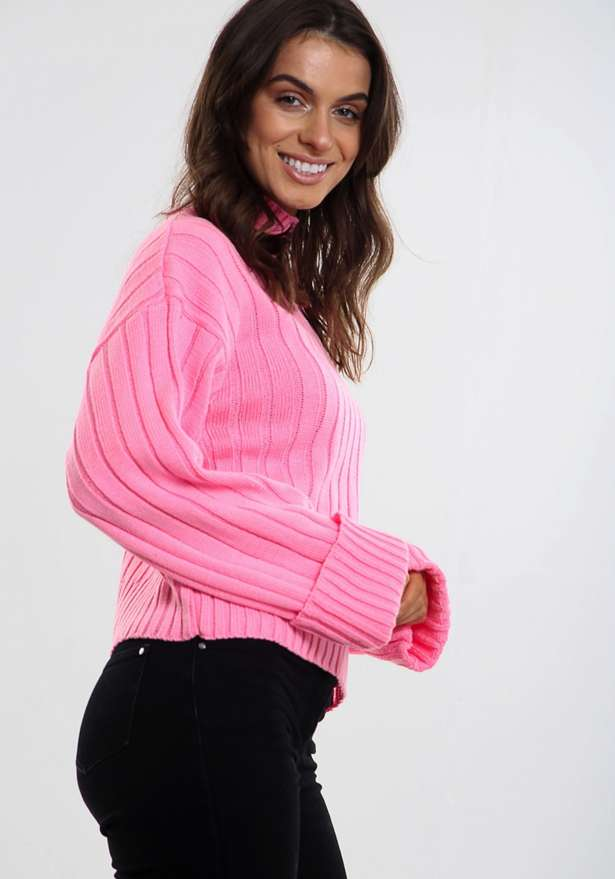 Olivia Kady Turtle Neck Knitted Jumper Pink