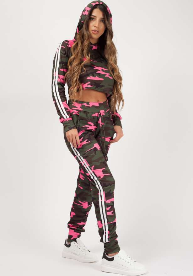 Camo Side Stripe Cropped Loungewear Set Pink