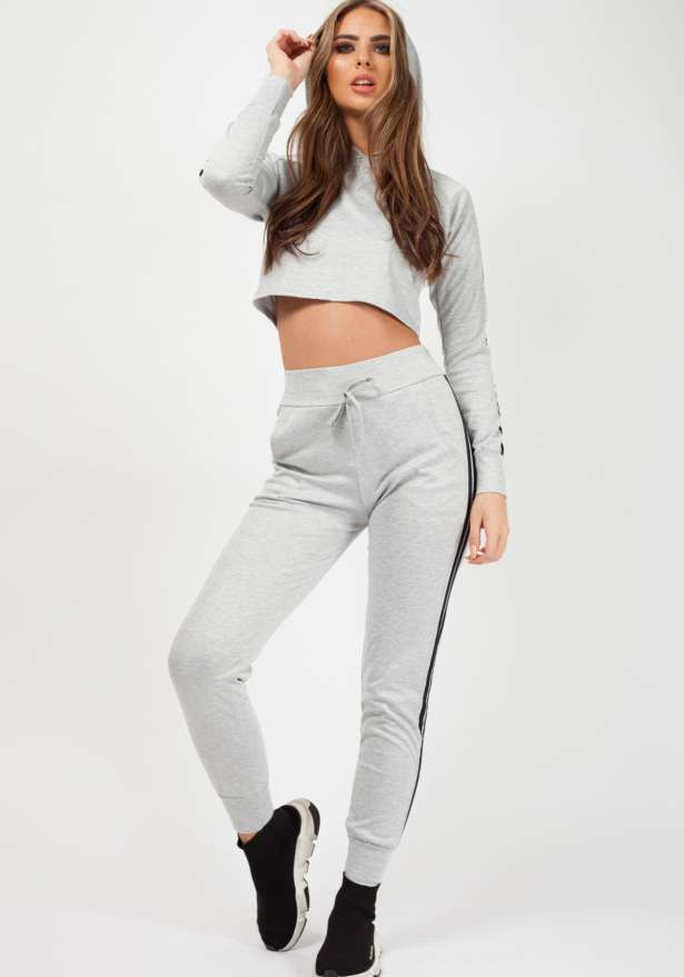 Side Stripe Cropped Loungewear Set In Grey