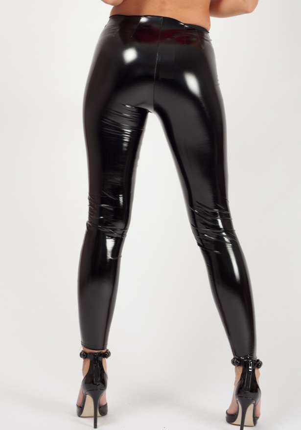 Zip Front Vinyl High Waist Leggings Black