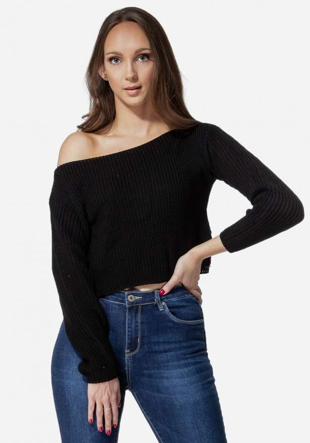 Kendall Knit Wide Neck Crop In Black