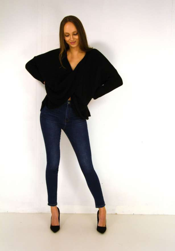 Knitted Sweater Reversible Knot Detail In Black