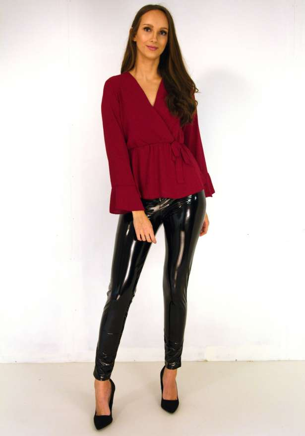 Nelli Wrap Up Long Sleeve Blouse In Red Wine