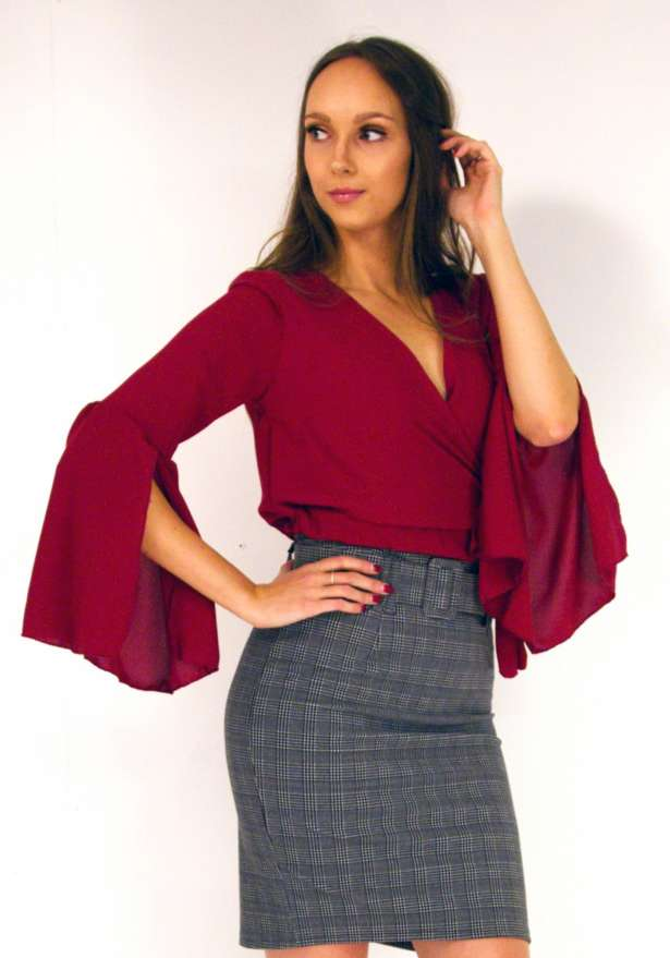 Belle Cropped Wrap Tie Blouse In Red Wine