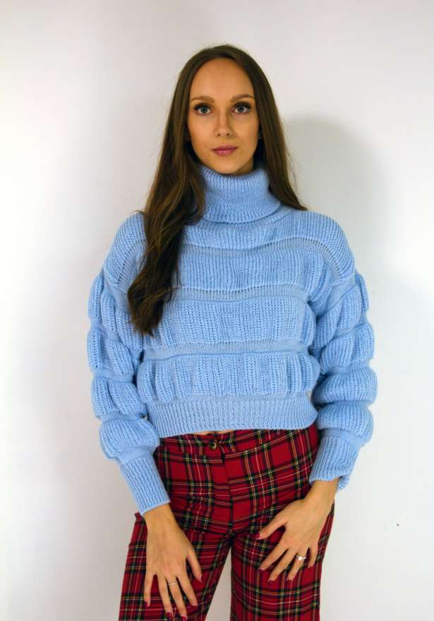 Chunky Cropped Polo Knit In Baby Blue