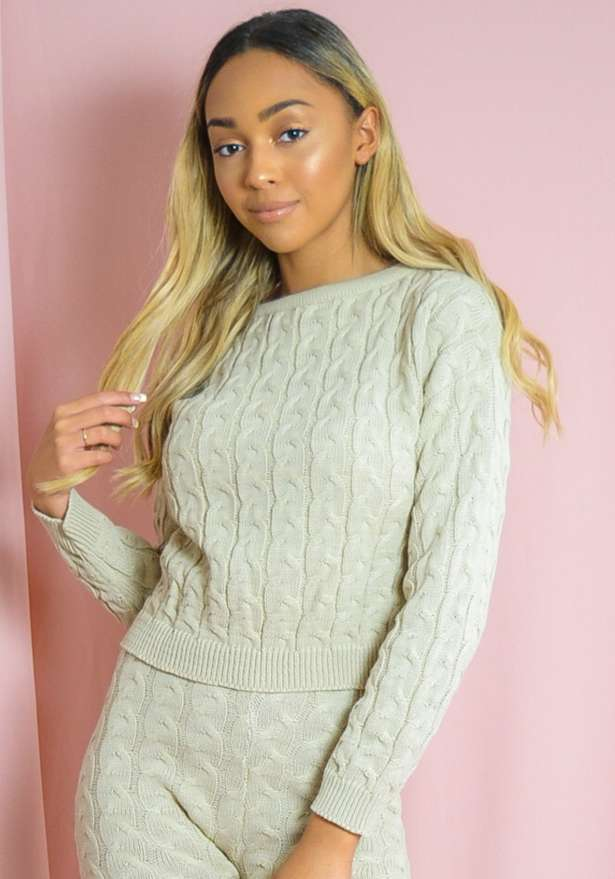 Cable Knit Top Bottom Co-ord Beige