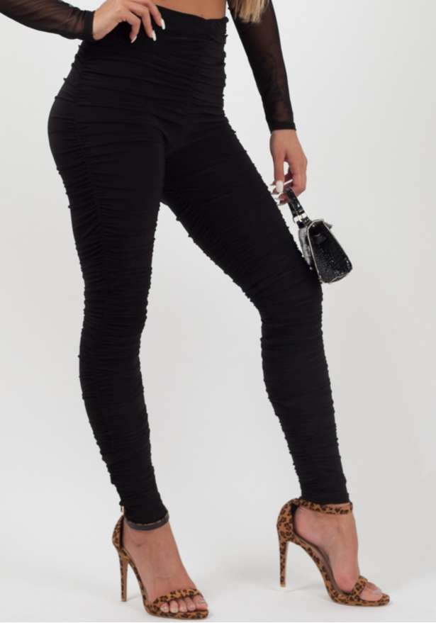 Slinky Ruched Leggings Black