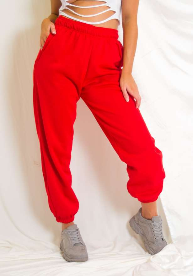 Oversized Fleece Joggers Red