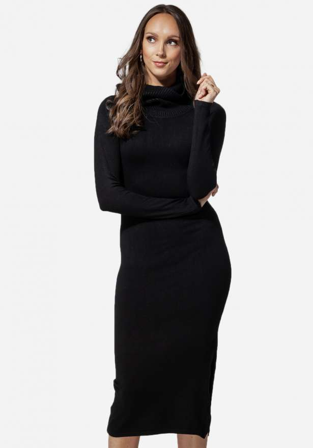 Jasmine Knitted Poloneck Long Dress Black