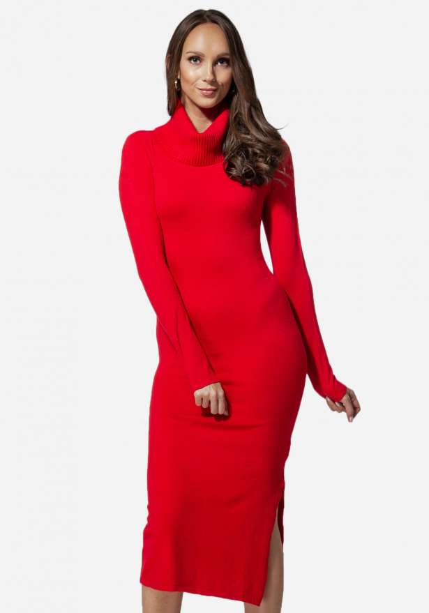 Jasmine Knitted Polo Long Dress Red