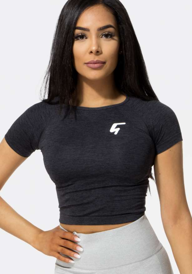 Workout+ Cropped Sport T-Shirt Black