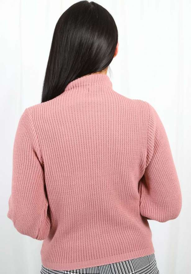 High Neck Knitted Jumper Pink