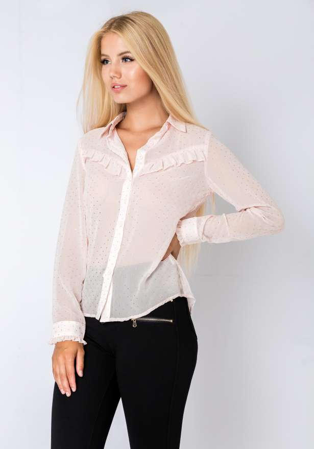 Long Sleeve Blouse With Frill Details In Pink