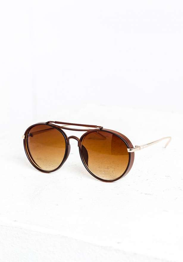 Brown Aviation Retro Sunglasses
