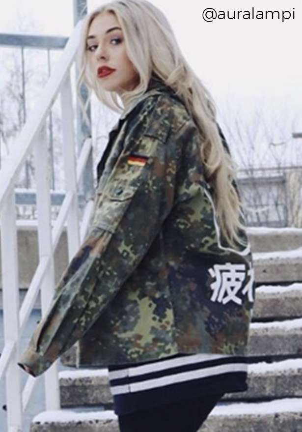 Sad Girl Vintage Oversize Camo Jacket