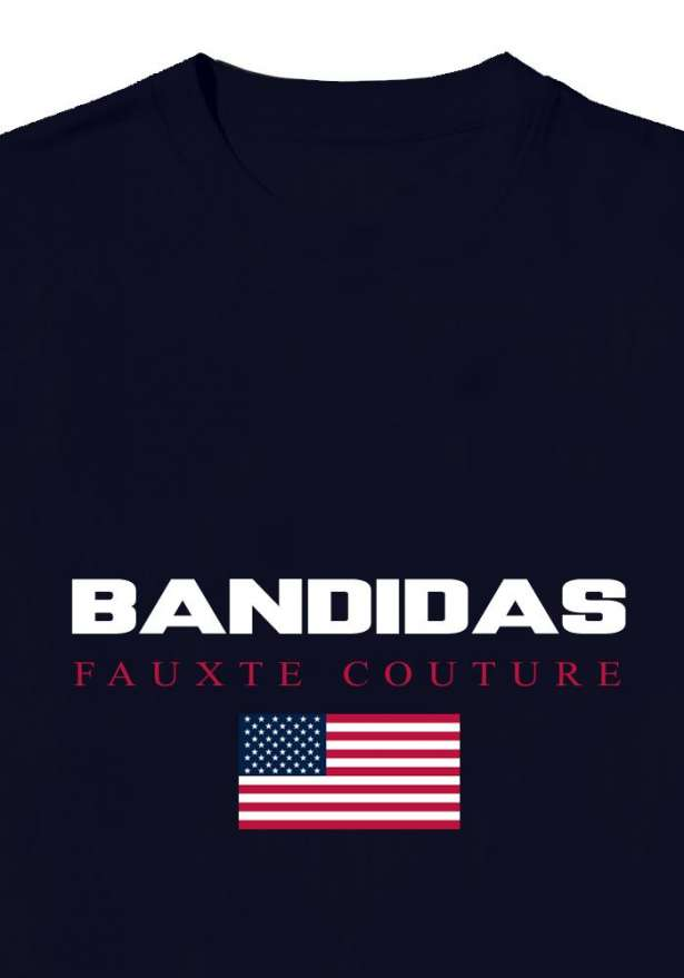 Bandidas Fauxte Couture Oversized Tee In Navy