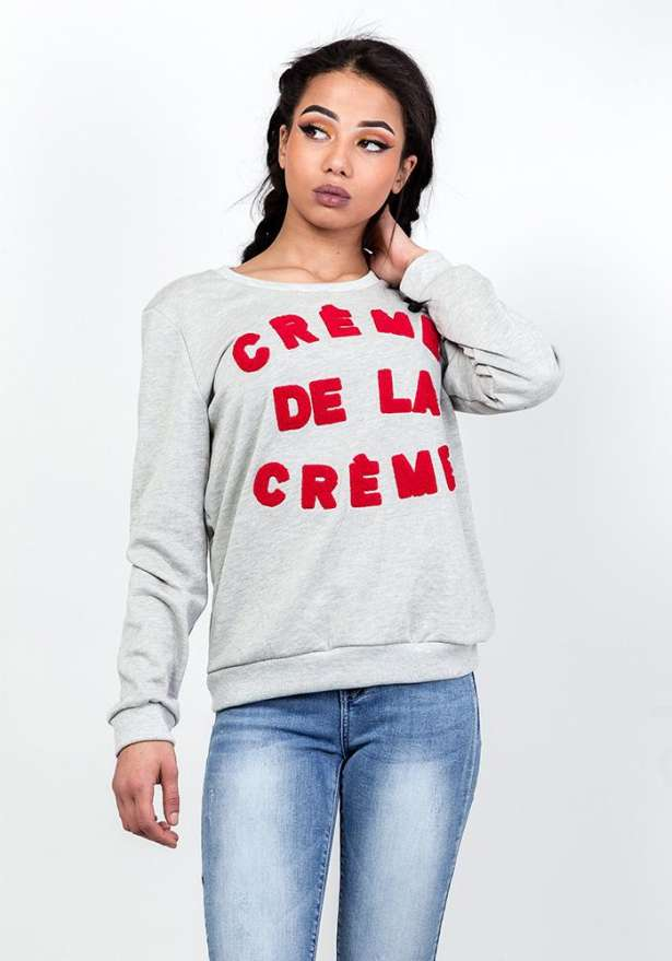 Creme Sweater In Grey