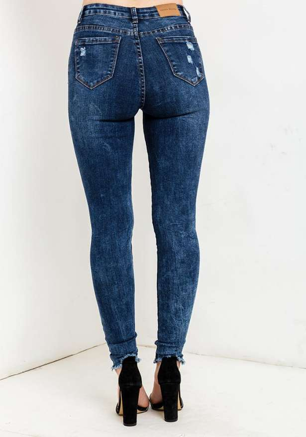 Dark Blue Jeans With Ankle Rip
