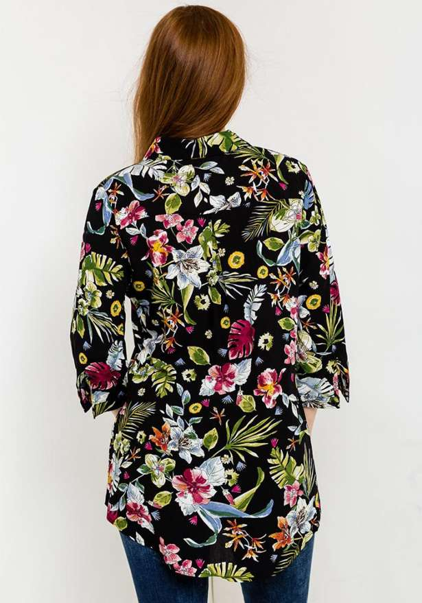 Floral Print Button-Up Shirt In Black