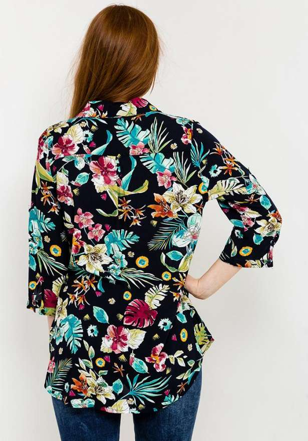 Floral Print Button-Up Shirt In Navy