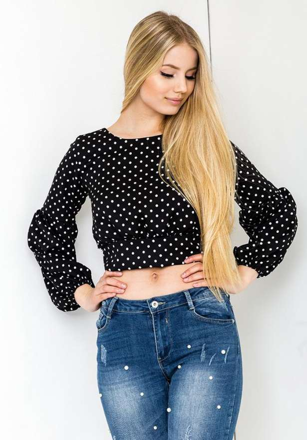 Long Sleeve Polka Blouse With Tie Back