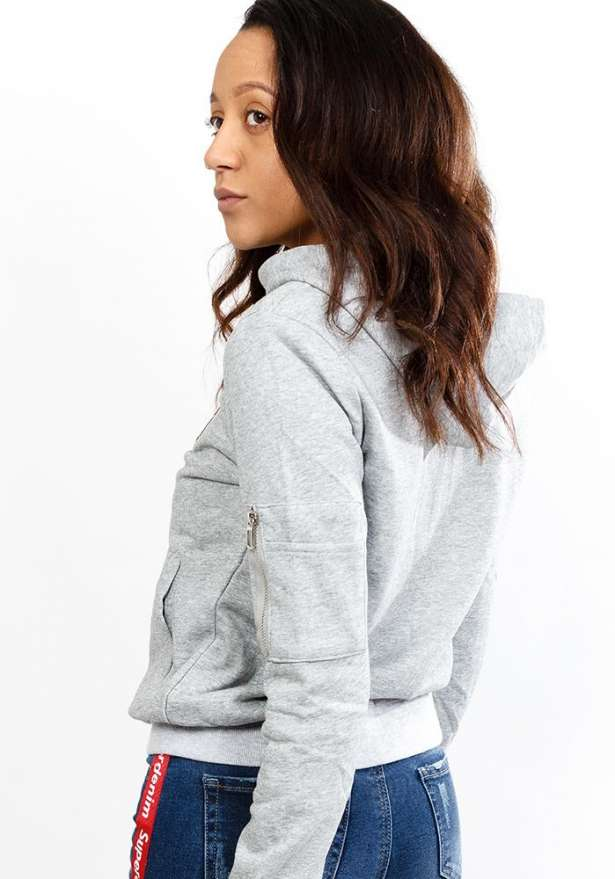 Embroidered Light Zip Hoodie In Grey