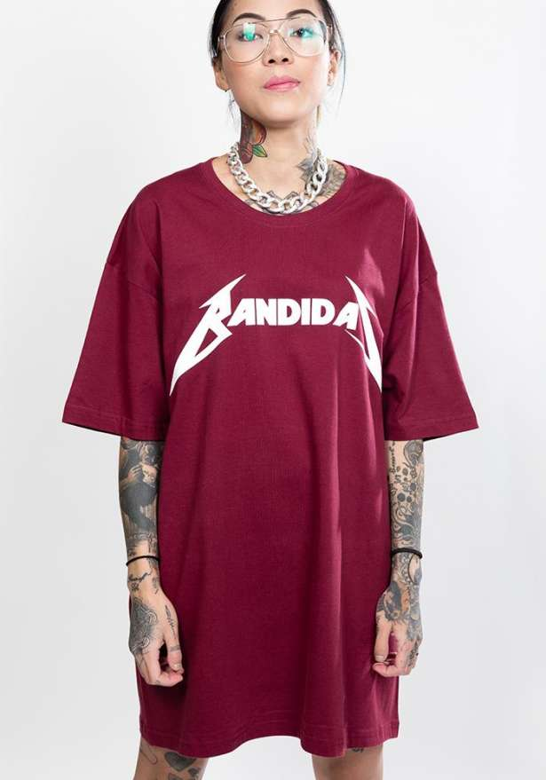 Master Of Puppets Bandidas Oversize Tee In Wine