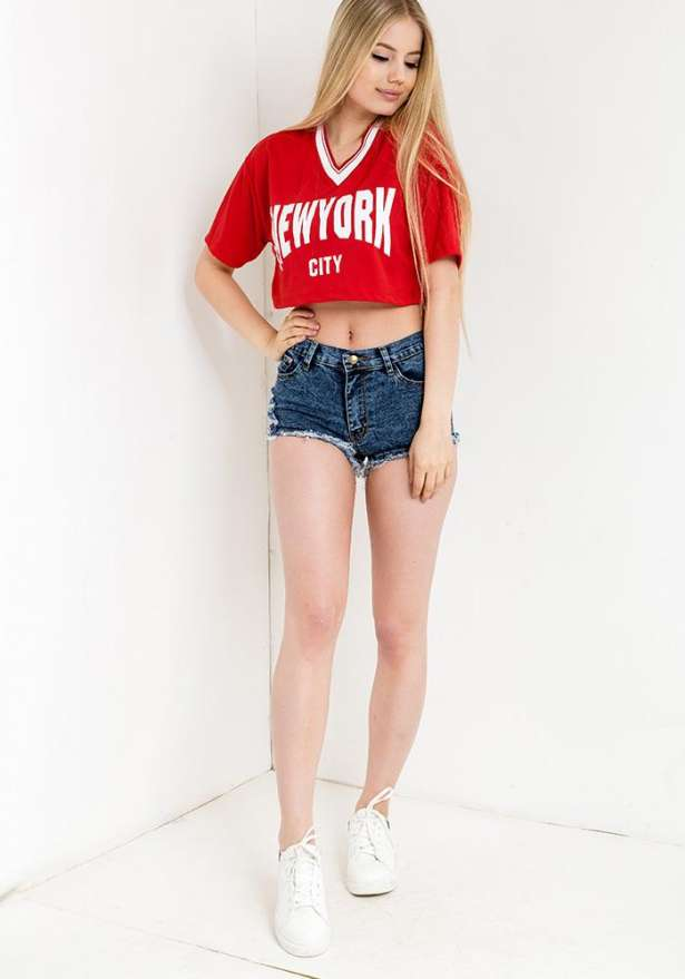 New York Crop Top In Red