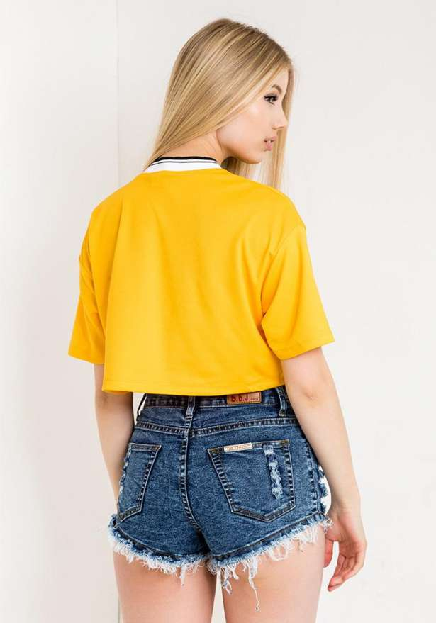 New York Crop Top In Yellow